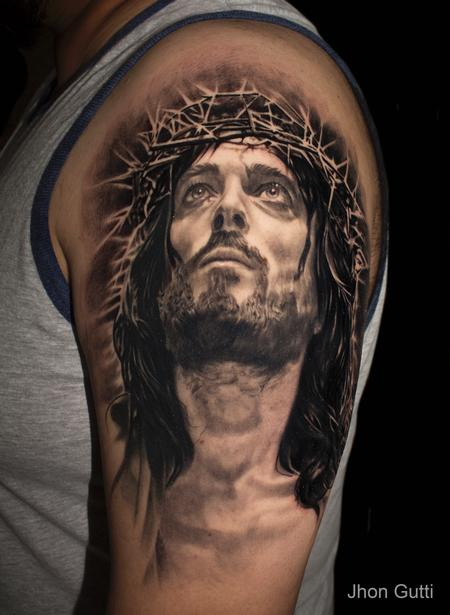 Tattoos - JESUS PORTRAIT - 130611